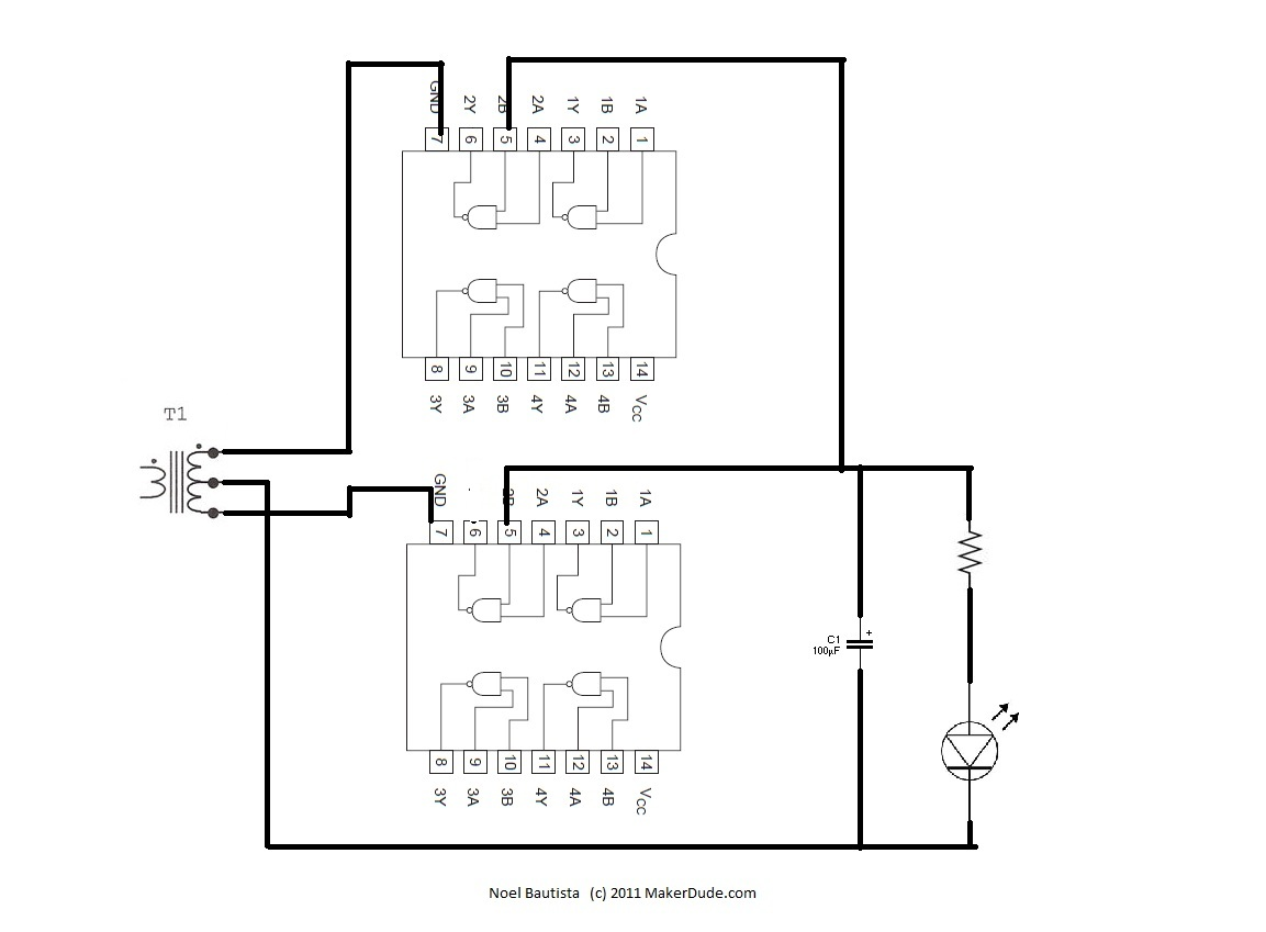 The 7400 Based Full Wave Rectifier Schematic