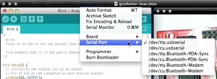 Programming Gizduino on a Mac OS X
